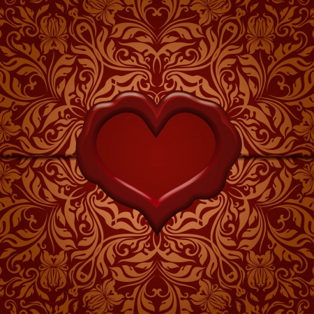 wax seal: Template frame design for Valentine s Day card   Ornate love letter with wax seal  Ornamental floral background