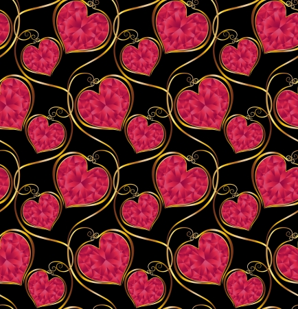 gold heart: Seamless vector pattern  Red heart-shaped diamonds on a black background  Illustration