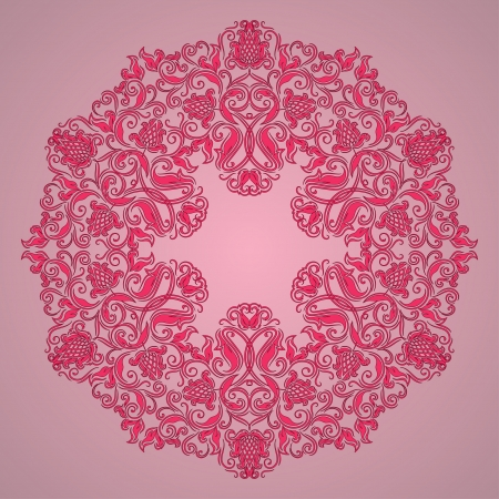 east indian: Ornate round lace pattern, circle background with floral details. Vintage lace ornament.