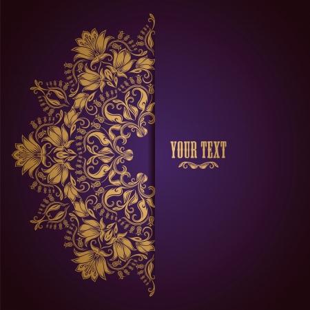 filigree: Elegante achtergrond met kant ornament en plaats voor tekst. Bloemen elementen, sierlijke achtergrond. Stock Illustratie