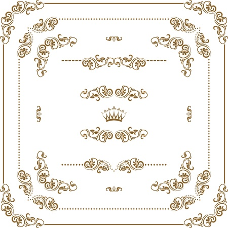 scroll border: Vector set of gold decorative horizontal floral elements, corners, borders, frame, dividers, crown   Page decoration  Illustration