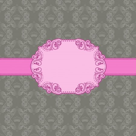 Vector template frame design for greeting card   Background - seamless pattern