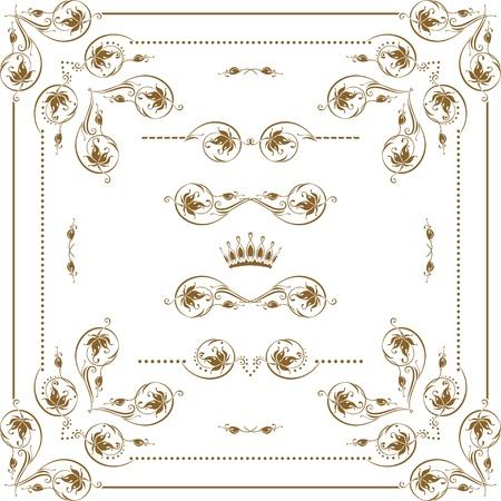 vine border: Vector set of gold decorative horizontal floral elements, corners, borders, frame, dividers, crown   Page decoration  Illustration
