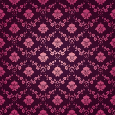 Damask seamless floral pattern  Royal wallpaper  Floral ornaments on a purple background   Vector