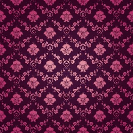 Damast naadloze bloemmotief Royal behang Bloemen ornamenten op een paarse achtergrond