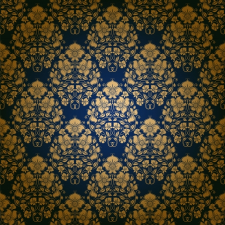 Damask seamless floral pattern  Royal wallpaper  Floral ornaments on a blue background  Vector