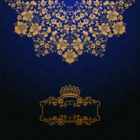 Elegant gold frame banner with crown, floral elements  on the ornate background   illustration    イラスト・ベクター素材
