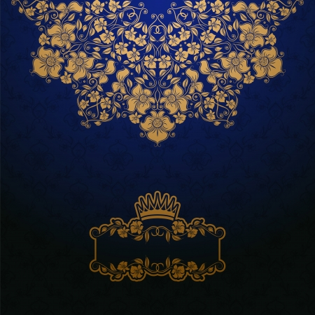 Elegant gold frame banner with crown, floral elements  on the ornate background   illustration   Illustration