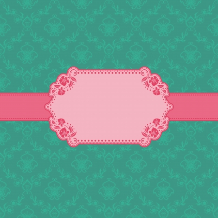 victorian wallpaper: Vector template frame design for greeting card   Background - seamless pattern