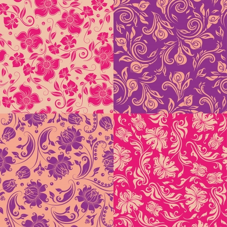 Set of 4 seamless floral pattern  Decorative flowers on a background  In vintage style  Vector