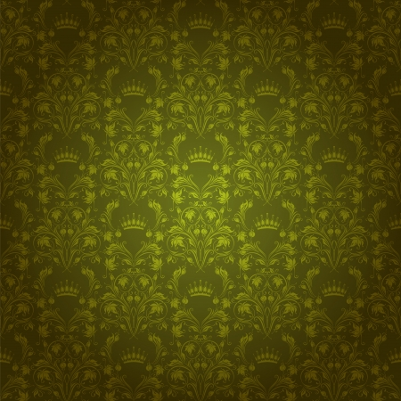 Damask seamless floral pattern  Royal wallpaper  Flowers and crowns on a green background  EPS 10 Vector