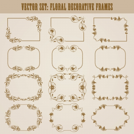 Vector set of decorative ornate frame with floral elements for invitations  Page decoration  Vector