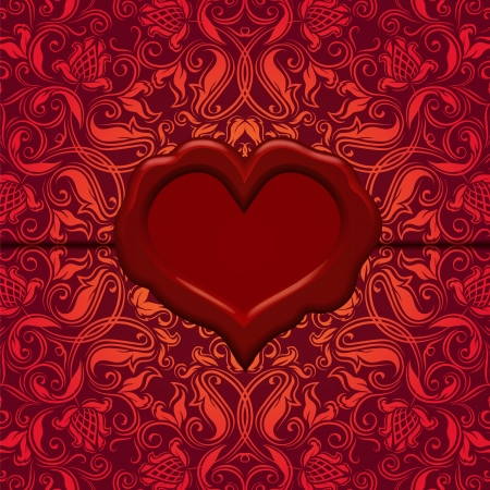 wax stamp: Template frame design for Valentine s Day card   Ornate love letter with wax seal  Ornamental floral background  Illustration