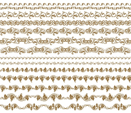 Set of borders,  decorative elements for design  Seamless ornament  Page decoration  Vector