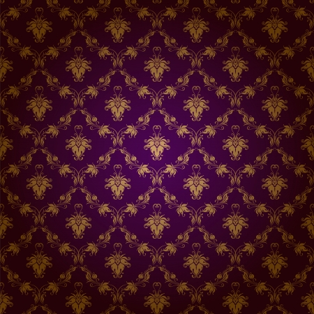 Damask seamless floral pattern  Royal wallpaper  Floral ornaments on a purple background Stock Vector - 19473336