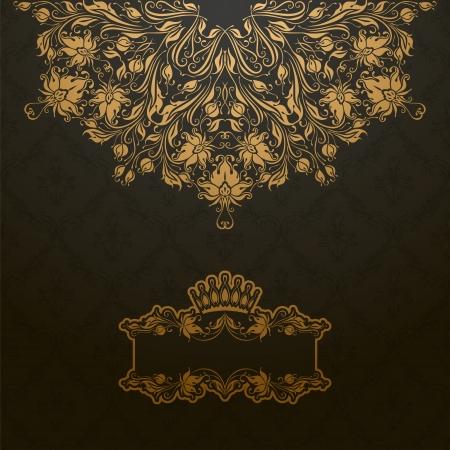 deco art: Elegant gold frame banner with crown, floral elements  on the ornate background  Vector illustration