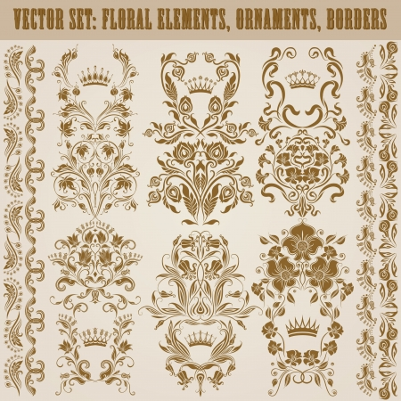 Set of vector damask ornaments  Floral elements, borders, crowns for design  Page decoration  Vector
