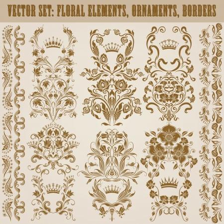 brocade: Set of vector damask ornaments  Floral elements, borders, crowns for design  Page decoration