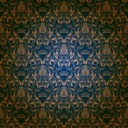 royal rich style: Damask seamless floral pattern  Royal wallpaper  Flowers and crowns on a dark background   Illustration