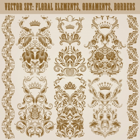 Set of damask ornaments  Floral elements, borders, crowns for design  Page decoration  Vector