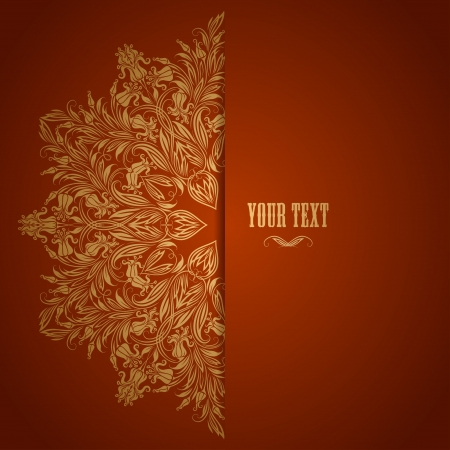 Elegant background with lace ornament and place for text  Floral elements, ornate background  Vector illustration   イラスト・ベクター素材