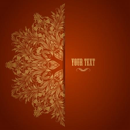 Elegante achtergrond met kant versiering en plaats voor tekst Bloemen elementen, sierlijke achtergrond Vector illustratie