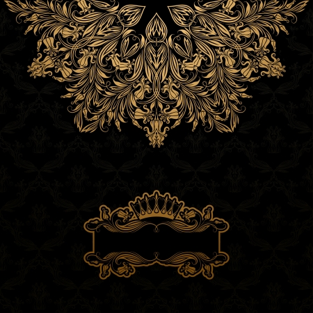 Elegant gold frame banner with crown, floral elements  on the ornate background  Vector illustration  EPS 10