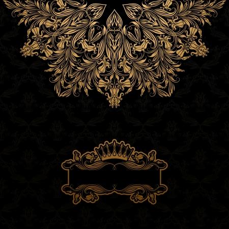 Elegant gold frame banner with crown, floral elements  on the ornate background  Vector illustration  EPS 10  Vector