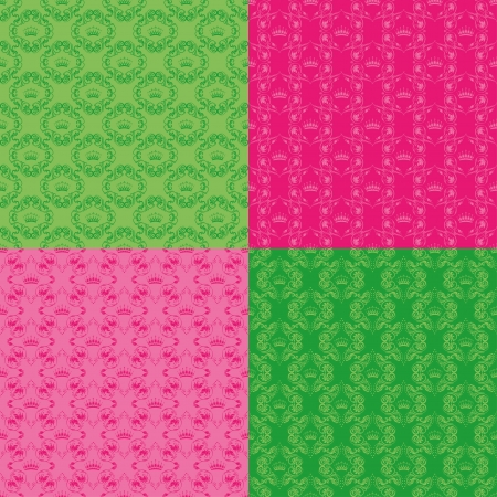 Set of 4 seamless damask pattern  Each seamless pattern is grouped on a separate layer  Vector