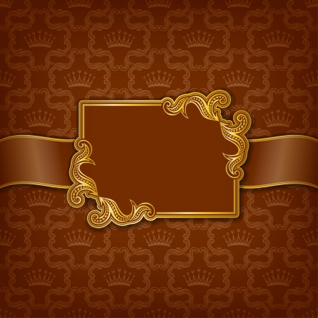 Vector elegant gold frame design for greeting card, banner, invitation, menu, cover  In vintage style   Vector