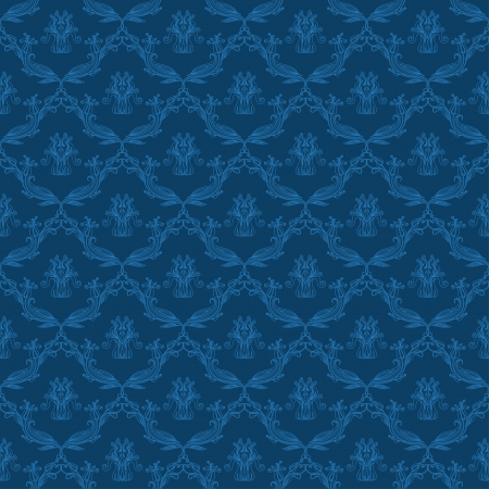 Damask seamless floral pattern  Flowers on a blue background  Vector