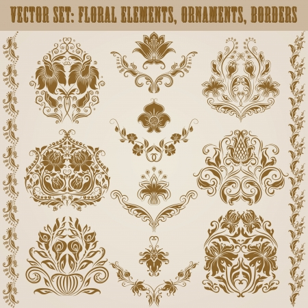 Set of vector damask ornaments  Floral elements, borders, corners for design  Page decoration  Vector