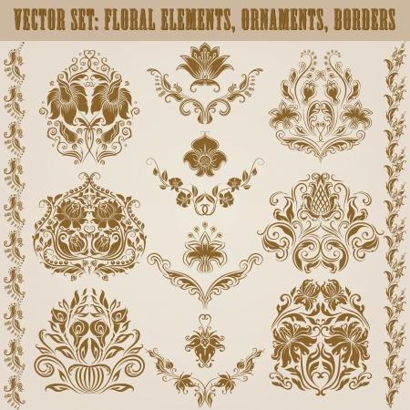 Set van vector damast ornamenten Bloemen elementen, randen, hoeken voor het ontwerp Pagina decoratie Stock Illustratie