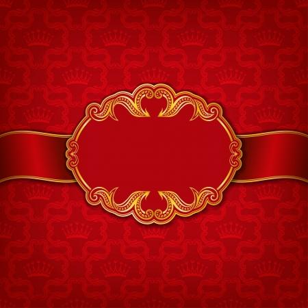 Vector elegant gold frame design for greeting card, banner, invitation, menu, cover  In vintage style   Vector