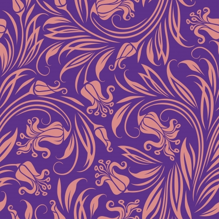 textile background: Seamless floral pattern  Rose flowers on a purple background  Illustration