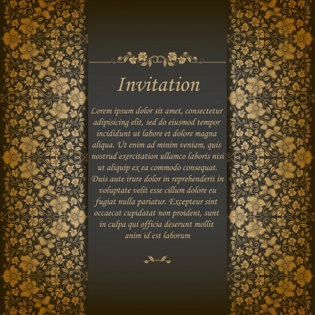 Elegant ornate background with lace seamless ornament for invitations, greeting card, menu  Floral elements, place for text   Vector