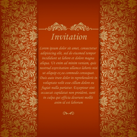 Elegant ornate background with lace seamless ornament for invitations, greeting card, menu  Floral elements, place for text  Illustration