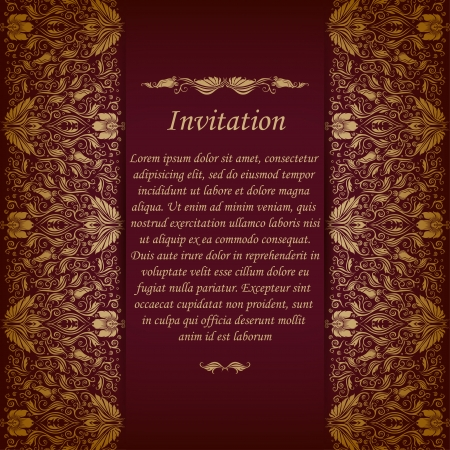 maroon: Elegant ornate background with lace seamless ornament for invitations, greeting card, menu  Floral elements, place for text