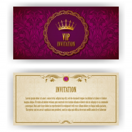 royal rich style: Elegant template for vip luxury invitation, card with lace ornament and place for text  Floral elements, ornate background  Vector illustration EPS 10  Illustration