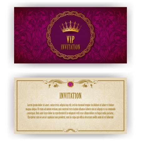 Elegante sjabloon voor vip luxe uitnodiging, kaart met kanten versiering en plaats voor tekst Bloemen elementen, sierlijke achtergrond Vector illustratie EPS 10 Stock Illustratie