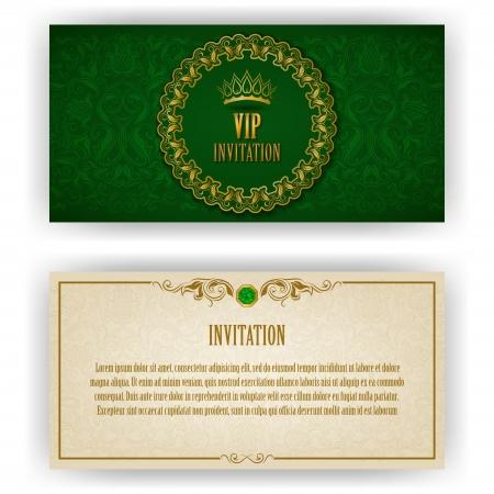 invitation card: Plantilla elegante de la invitaci�n de lujo vip, tarjeta con adornos de encaje y el lugar para los elementos florales texto, fondo adornado ilustraci�n vectorial eps 10