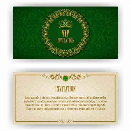 Elegant template for vip luxury invitation, card with lace ornament and place for text  Floral elements, ornate background  Vector illustration EPS 10  일러스트