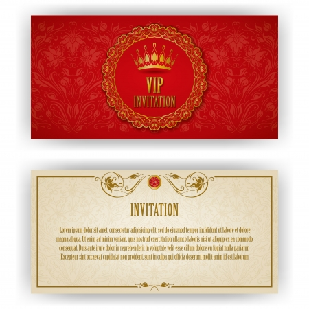 Elegant template for vip luxury invitation, card with lace ornament and place for text  Floral elements, ornate background  Vector illustration EPS 10  Illustration
