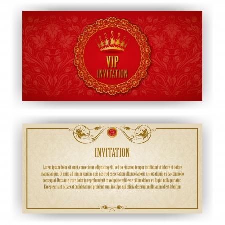 Plantilla elegante de la invitación de lujo vip, tarjeta con adornos de encaje y el lugar para los elementos florales texto, fondo adornado ilustración vectorial eps 10 Ilustración de vector