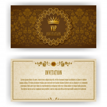 vine border: Elegant template for vip luxury invitation, card with lace ornament and place for text  Floral elements, ornate background  Vector illustration EPS 10  Illustration