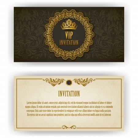 Elegant template for vip luxury invitation, card with lace ornament and place for text  Floral elements, ornate background  Vector illustration EPS 10   イラスト・ベクター素材