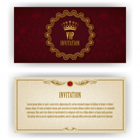 maroon: Elegant template luxury invitation, card with lace ornament, place for text  Floral elements, ornate background  Vector illustration EPS 10  Illustration