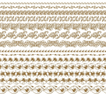 Set of vector borders,  decorative elements for design  Seamless ornament  Page decoration  Vector