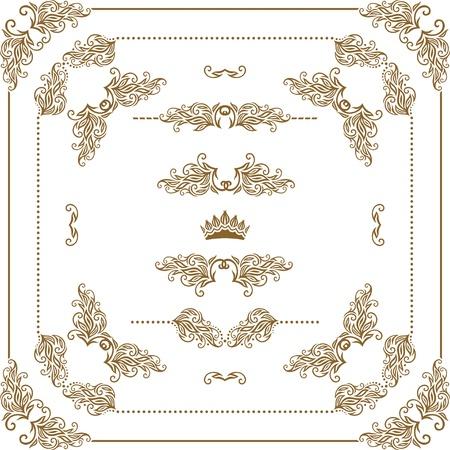 bordes decorativos: Vector conjunto de elementos decorativos de oro horizontales florales, esquinas, bordes, marcos, separadores, decoraci?n corona p?gina