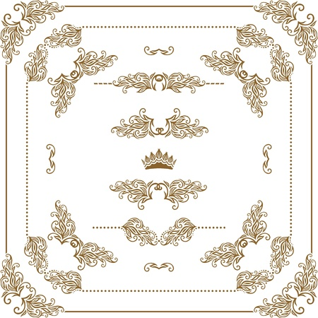 Vector set of gold decorative horizontal floral elements, corners, borders, frame, dividers, crown   Page decoration  Illustration